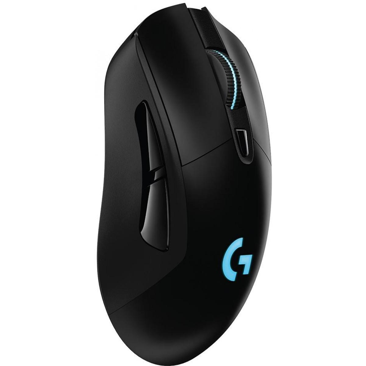Mouse Gamer Logitech G703 Hero 16K Lightspeed Sem Fio, RGB, 16000 DPI, Black, 910-005639