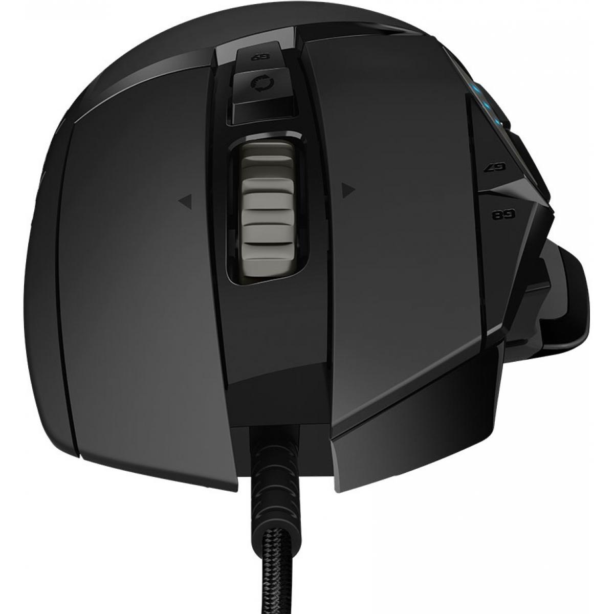 Mouse Gamer Logitech Hero G502 RGB 11 Botões 16000 DPI Ajuste de Peso Preto