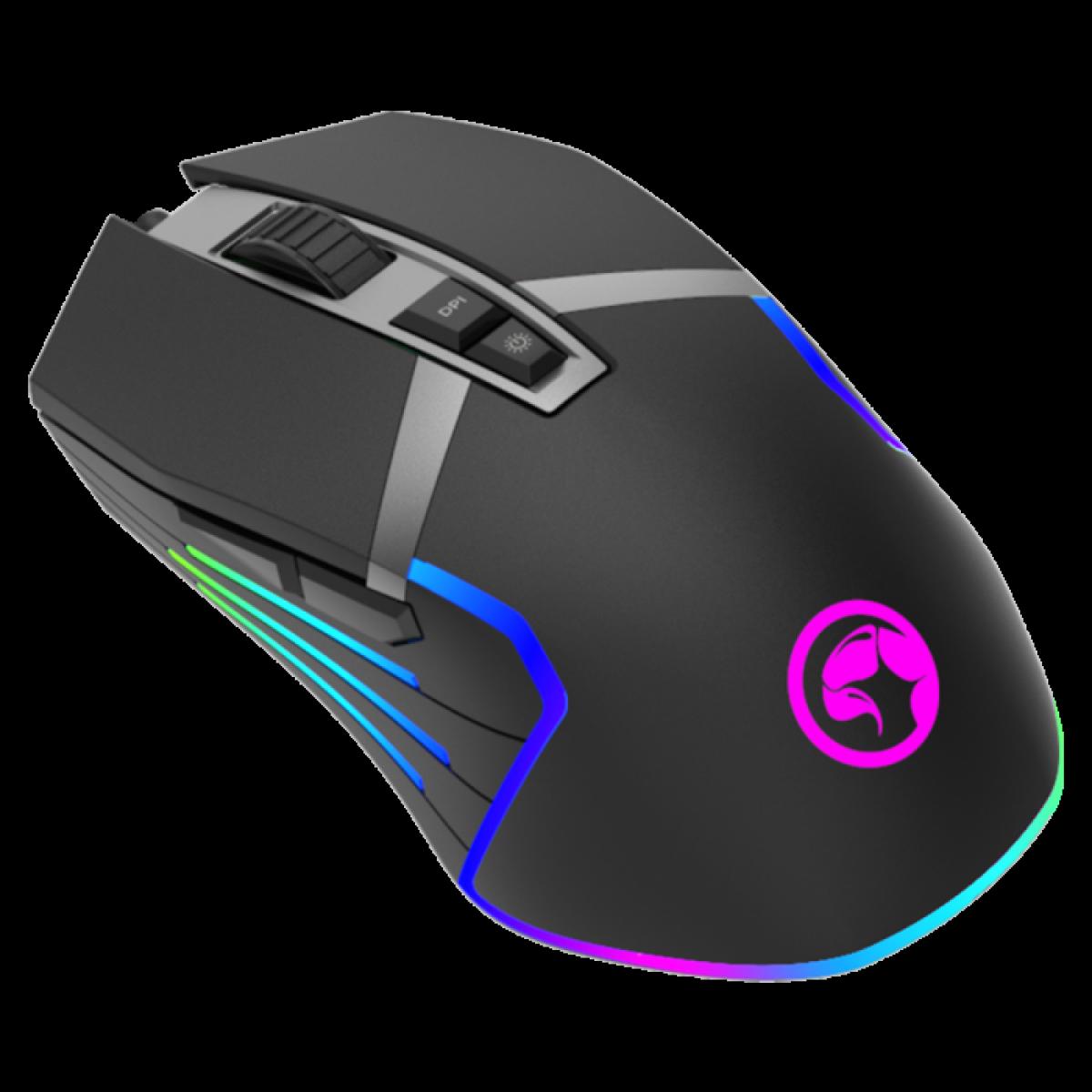 Mouse Gamer Marvo Scorpion G941, 12000DPI, 9 Botões, RGB, Black