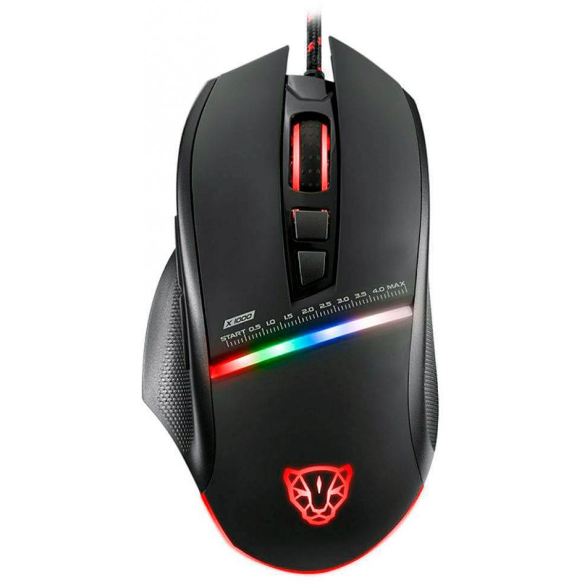 Mouse Gamer Motospeed V10 RGB, 4000 DPI, Black, FMSMS0001PTO