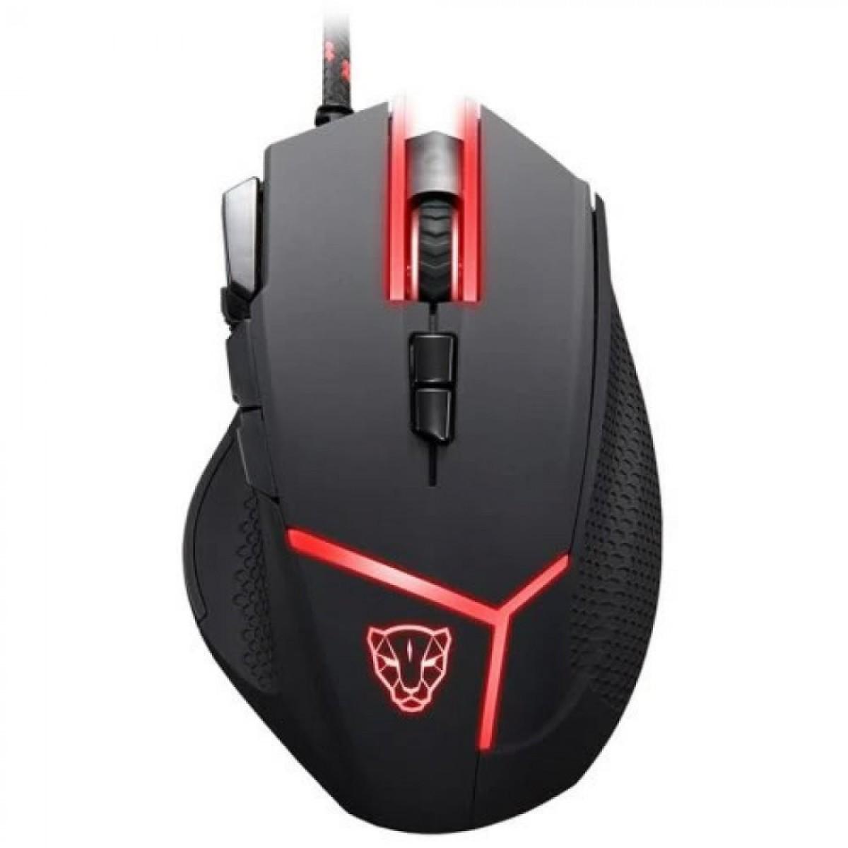 Mouse Gamer Motospeed V18 Hero Leopard, 4000 DPI, RGB, 9 Botões, Black, FMSMS0059PTO