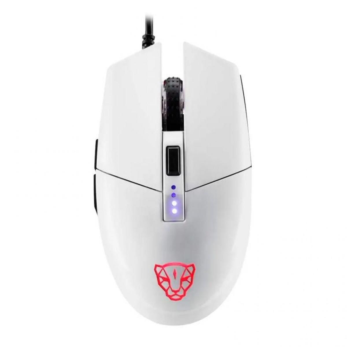 Mouse Gamer Motospeed V50 4000 DPI, RGB Backlight, White, FMSMS0005BRO