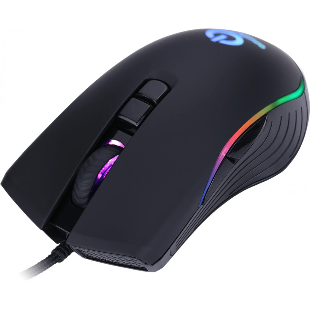 Mouse Gamer OnePower MO-505 RGB, 3200 DPI, 7 Botões Programáveis, Black
