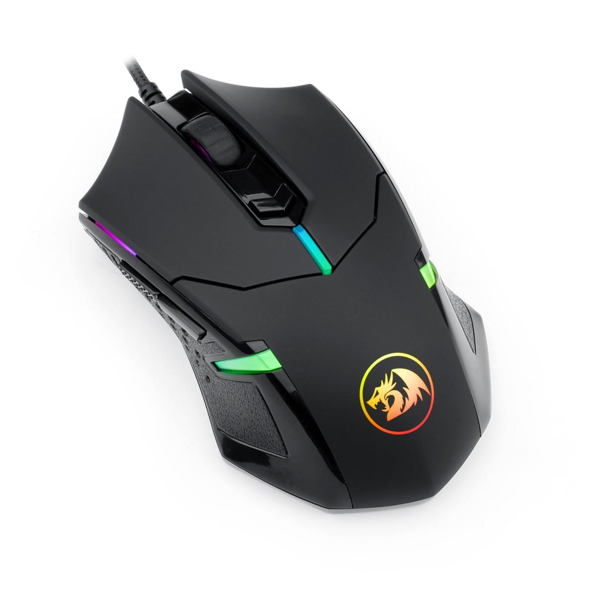 Mouse Gamer Redragon Centrophorus 2, 7200DPI, 6 Botões, RGB, Black, M601-RGB