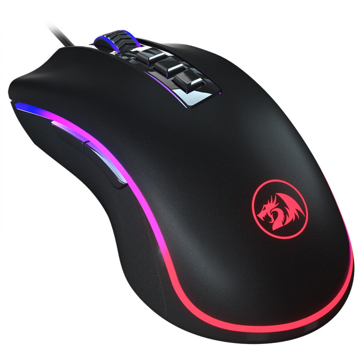 Mouse Gamer Redragon King Cobra Chroma RGB, 24000 DPI, 7 Botões Programáveis, Black, M711-FPS-1