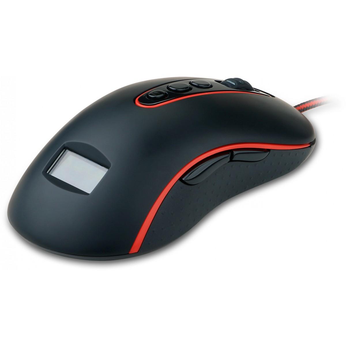 Mouse Gamer Redragon Mars M906, 4000 DPI, 5 Botões Programáveis, Black/Red