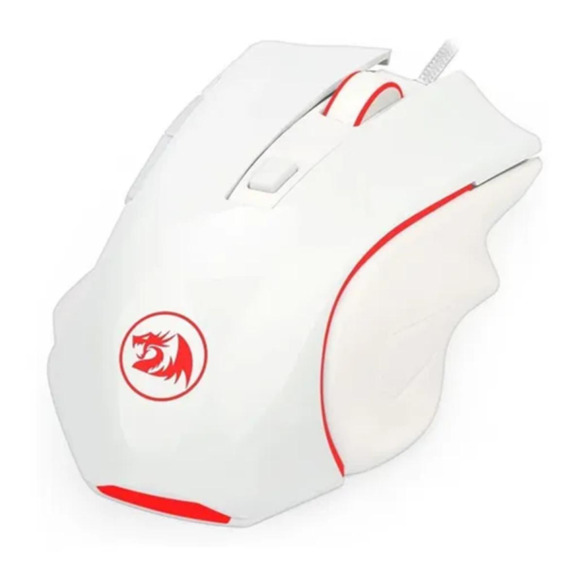 Mouse Gamer Redragon Nothosaur, 3200 DPI, 6 Botões Programáveis, White, M606W