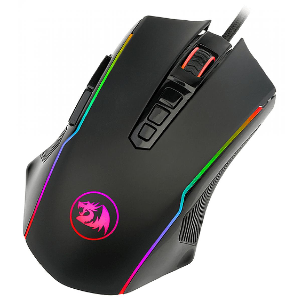 Mouse Gamer Redragon Ranger M910 RGB, 12400 DPI, 9 Botões Programáveis, Black