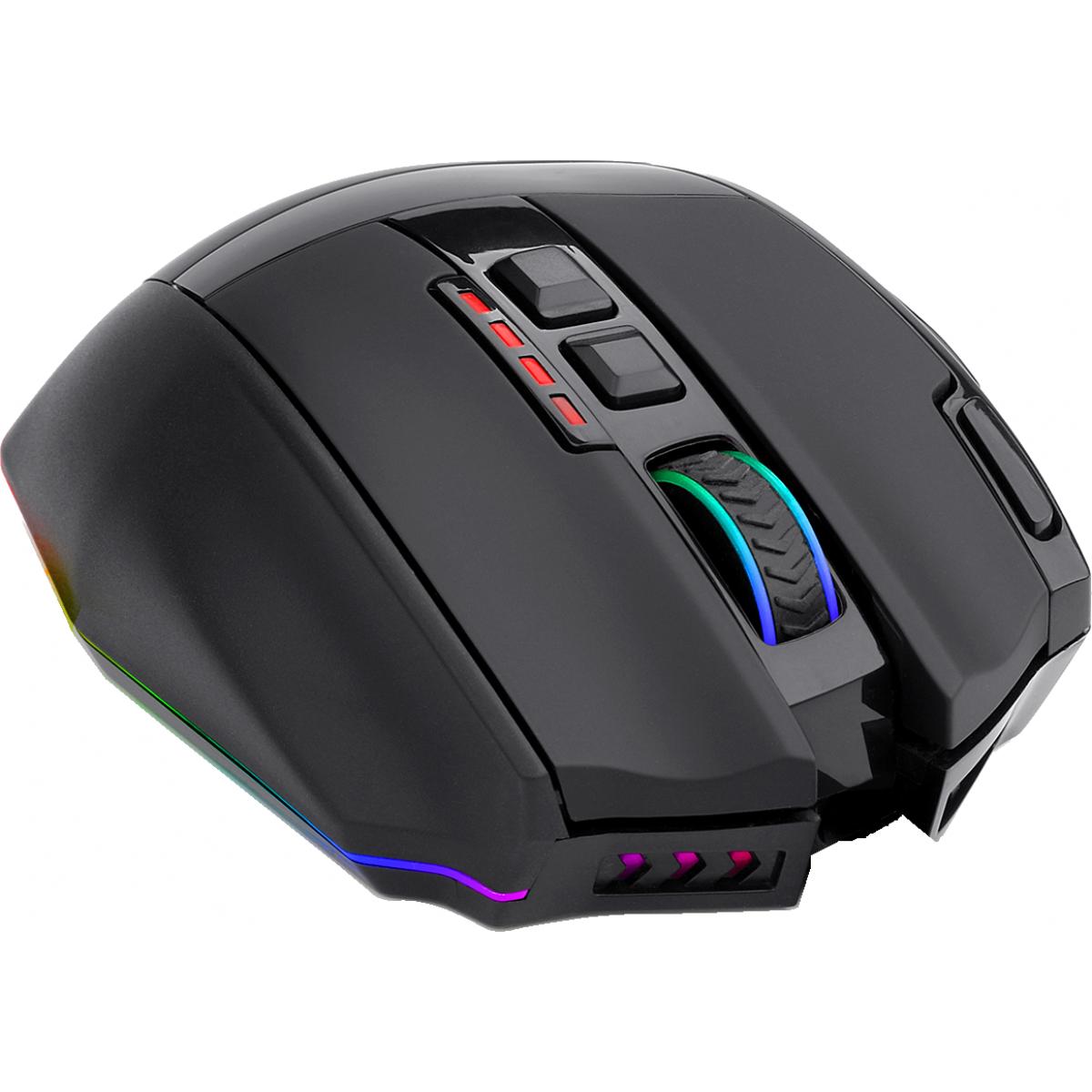 Mouse Gamer Redragon Sniper Pro M801P RGB, 16000 DPI, Wireless, 9 Botões Programáveis, Black