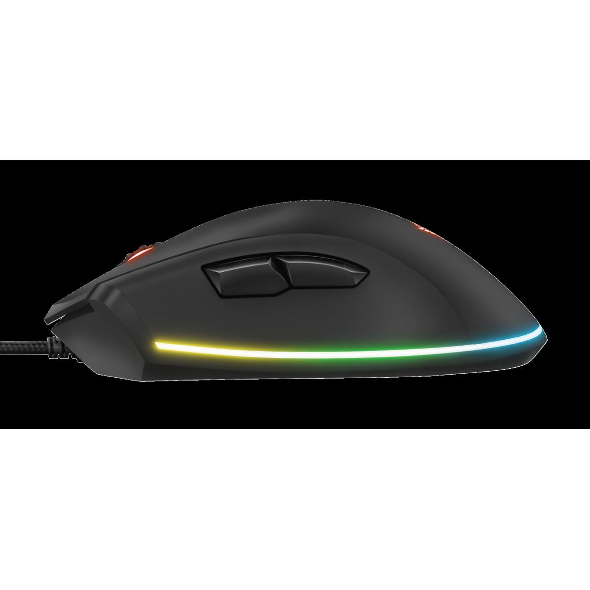 Mouse Gamer RGB Trust Qudos, 15.000 DPI, 7 Botões Brogramáveis, GXT900