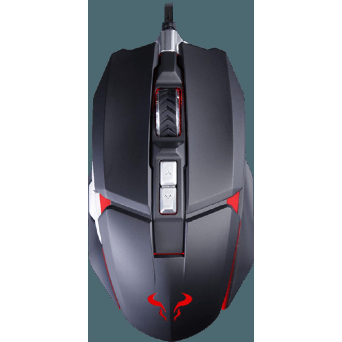 Mouse Gamer Riotoro Aurox, 10000 DPI, 8 Botões Programáveis, Sensor PixArt PWM 3330, Black
