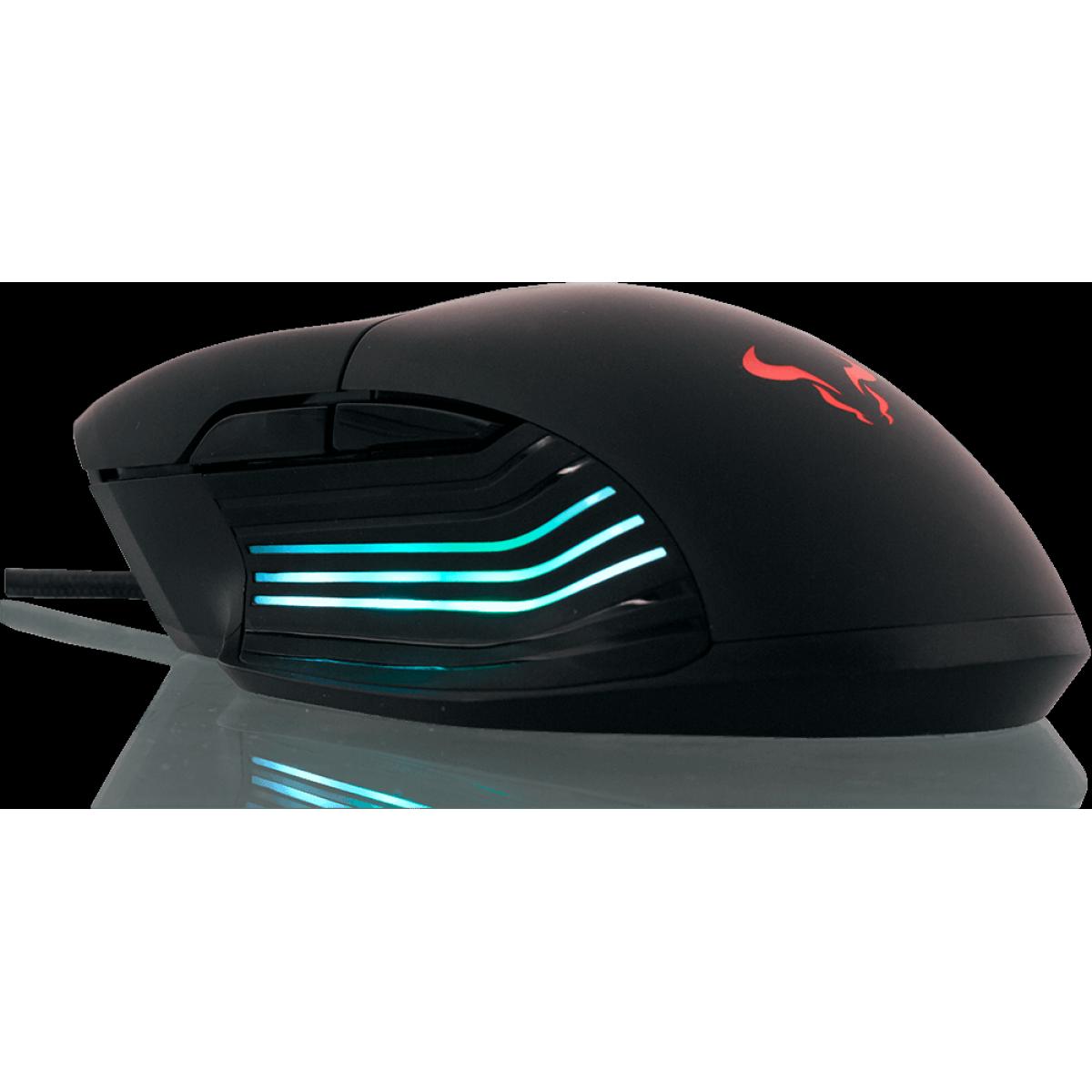Mouse Gamer Riotoro Nadix RGB, 10000 DPI, 7 Botões Programáveis, Black