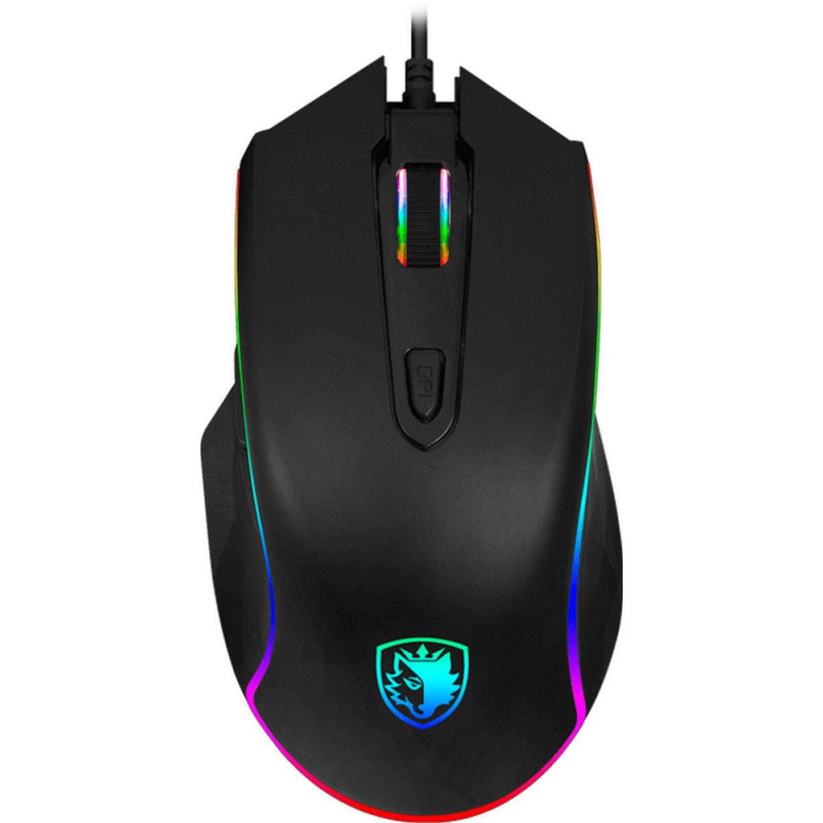Mouse Gamer Sades S17 Scythe RGB, 4000 DPI, 7 Botões, Black
