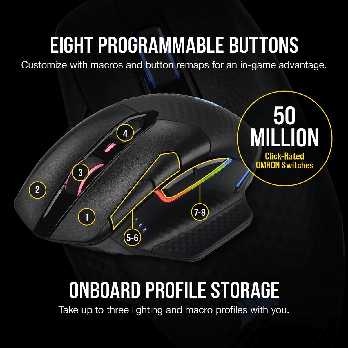 Mouse Gamer Sem Fio Corsair Dark Core RGB PRO, 18.000DPI, 8 Botões Programáveis, Black, CH-9315411-NA