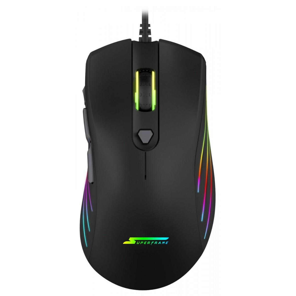Mouse Gamer SuperFrame, BIG BOSS, 12000 DPI, RGB, 7 Botões, Black, Sensor Pixart 3360