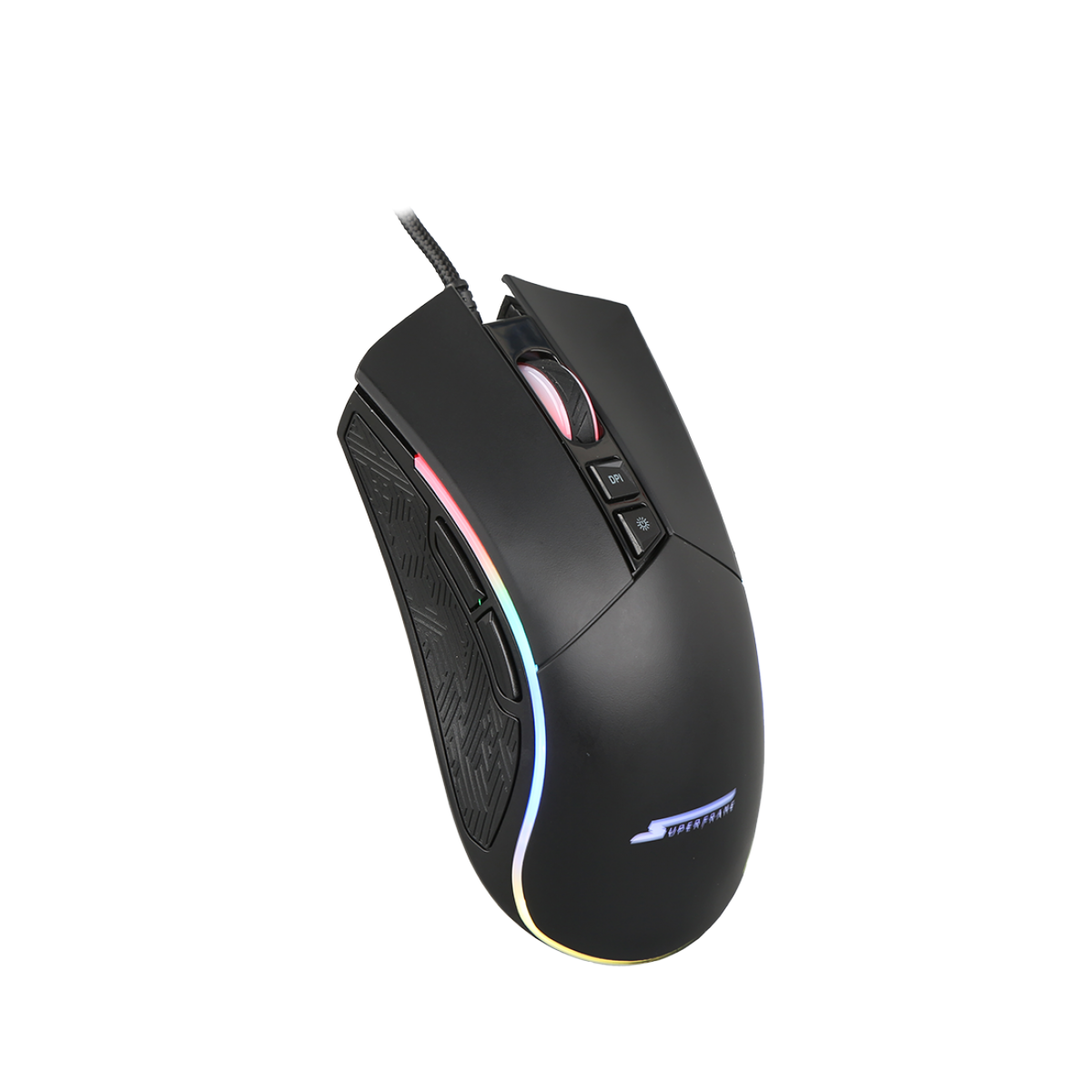 Mouse Gamer SuperFrame, BOSS, 10000 DPI, RGB, 7 Botões, Black, Sensor Pixart 3325