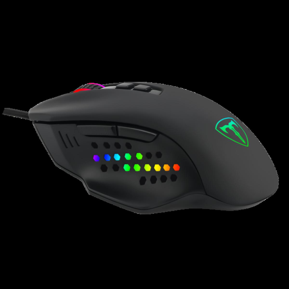 Mouse Gamer T-Dagger Captain, RGB, 8000 DPI, 7 Botões Programáveis, Black, T-TGM302
