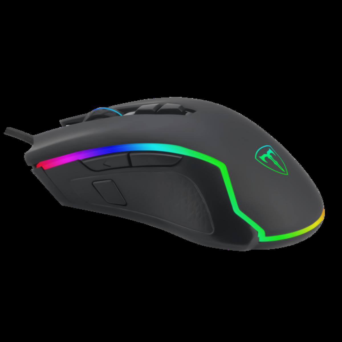 Mouse Gamer T-Dagger Second Lieutenant, RGB 8000 DPI, 8 Botões Programáveis, Black, T-TGM300