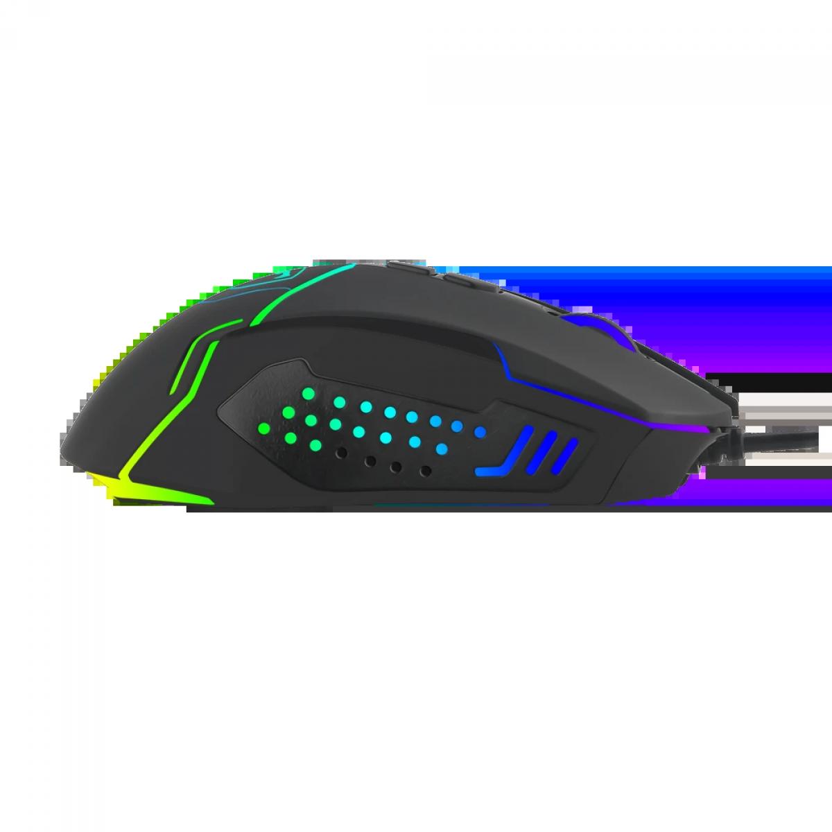 Mouse Gamer T-Dagger Senior RGB, 4800 DPI, 7 Botões, Black, T-TGM205