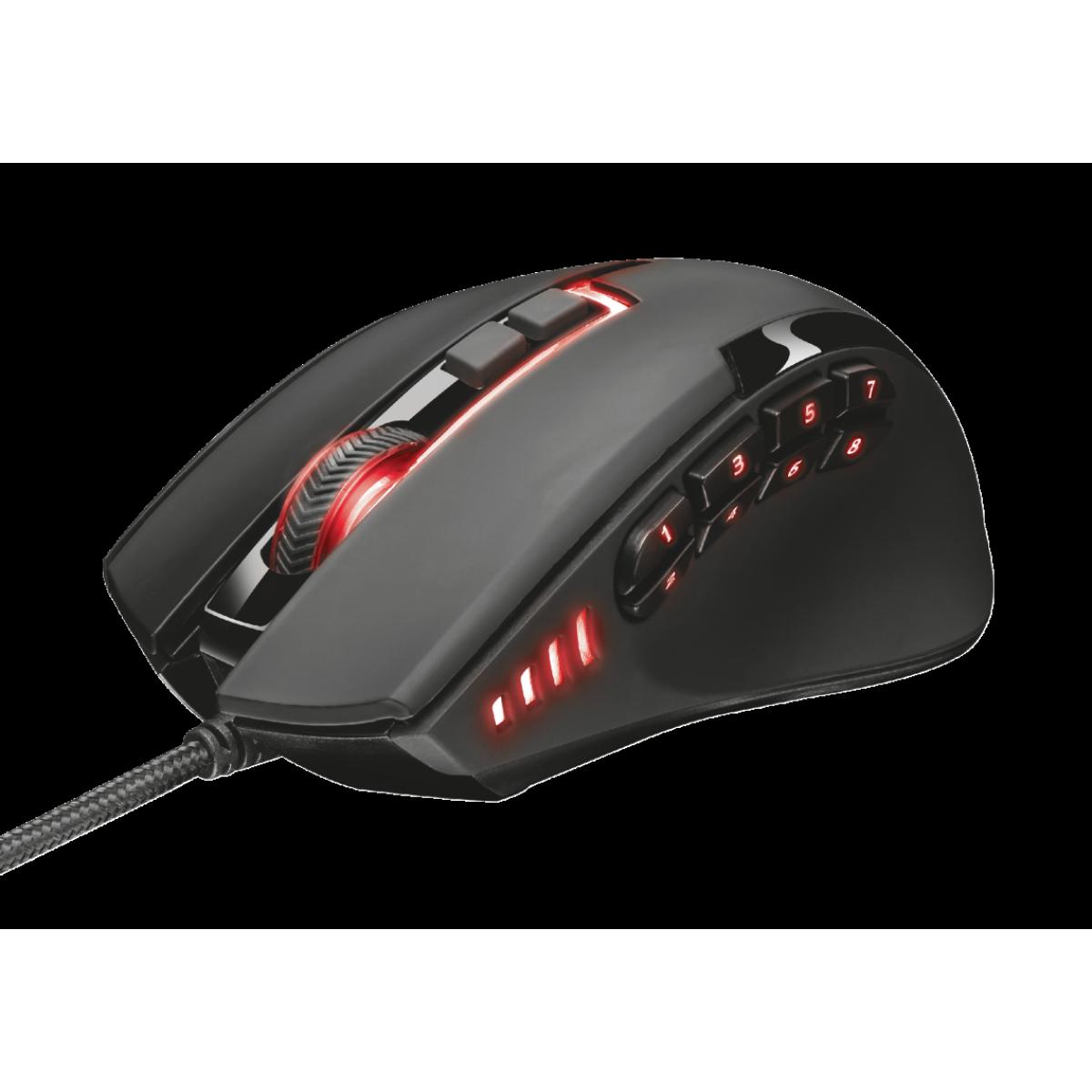 Mouse Gamer Trust,  GXT 164 Sikanda MMO, 5000 DPI, RGB, 13 Botões, Black, T21726