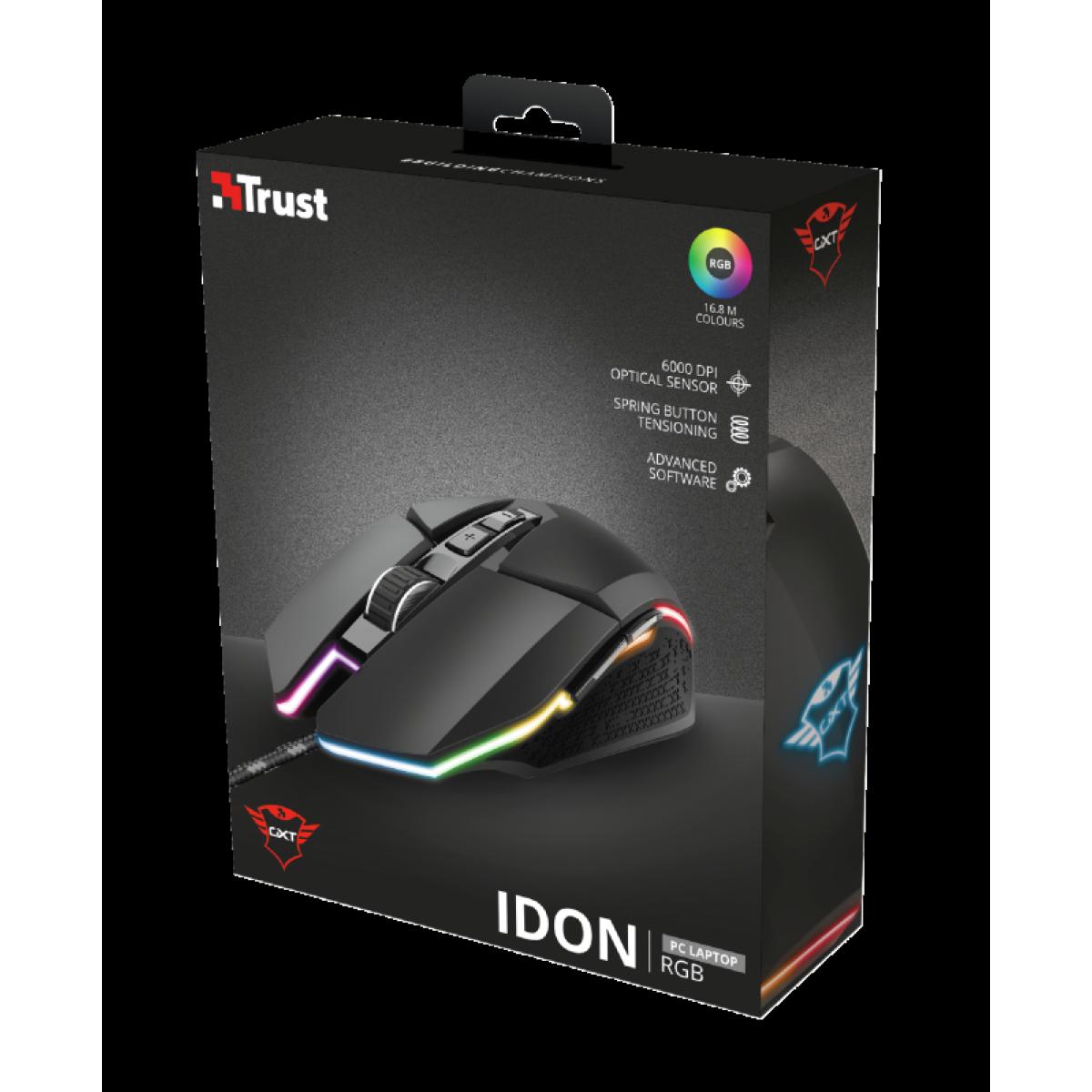 Mouse Gamer, Trust, GXT 950 IDON, RGB, 6000DPI