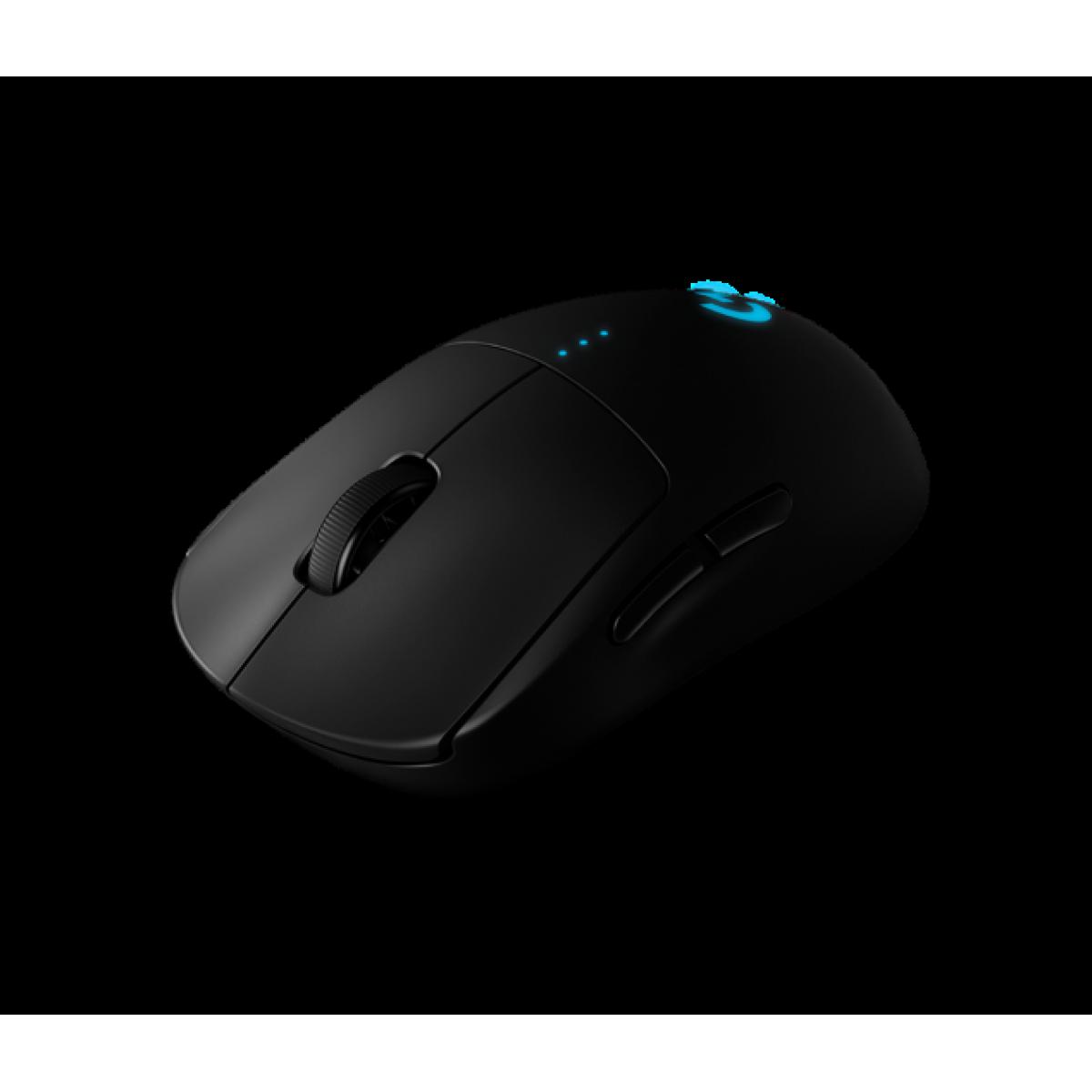 Mouse Gamer Wireless Logitech G PRO, 16.000DPI, 6 Botões Programáveis, RGB, Black, 910-005271