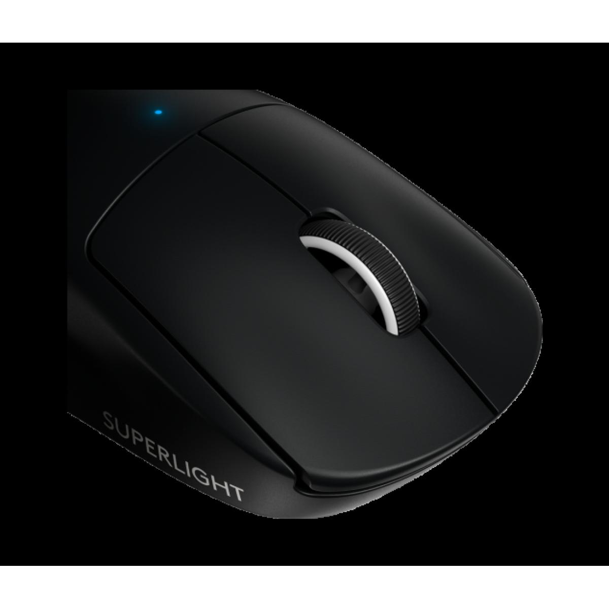 Mouse Gamer Wireless Logitech G Pro X Superlight, 25.400 DPI, 6 Botões, Black, 910-005879