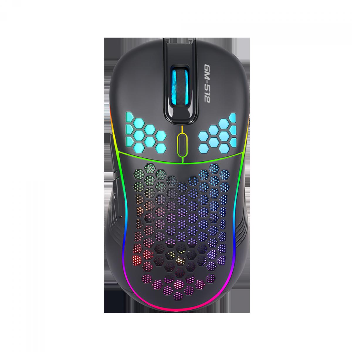 Mouse Gamer Xtrike Me, 6400DPI, 7 Botões, RGB, Black, GM-512