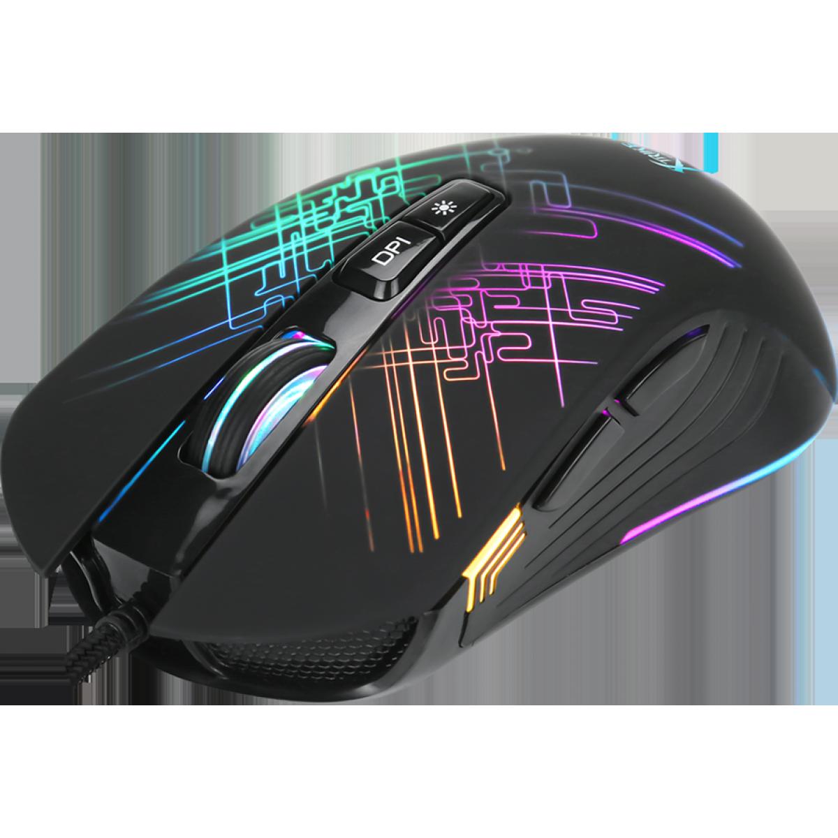 Mouse Gamer Xtrike-Me GM-510, RGB, 7 Botões 6400 DPI, Black