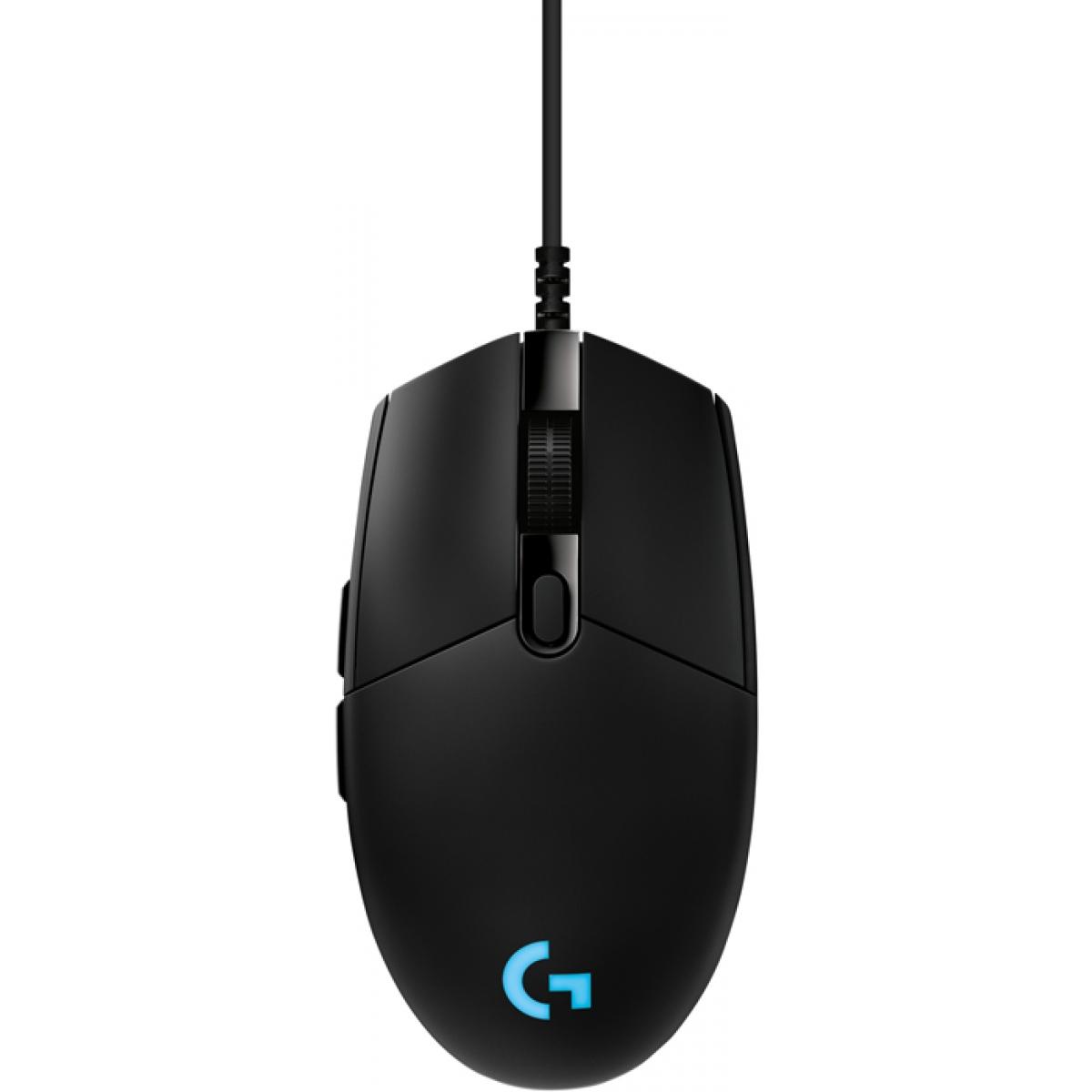 Mouse Logitech Gamer Pro Hero RGB 6 Botões 16000 DPI Black, 910-005536
