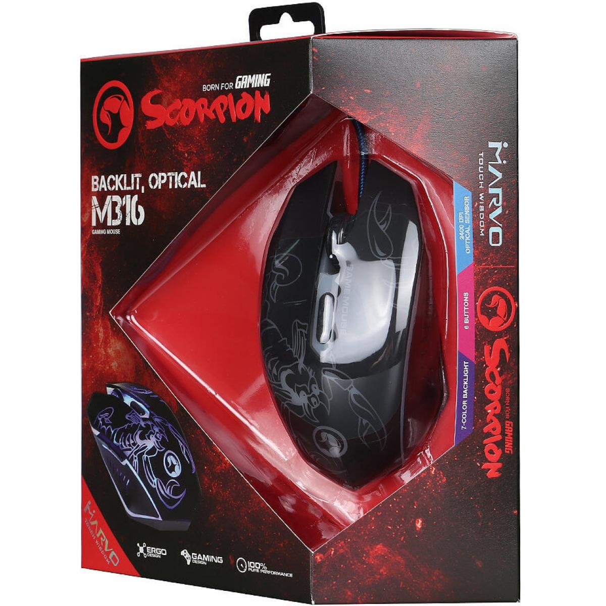 Mouse Marvo Gamer M316 Wired 6 Botões 2400 DPI LED 7 Cores