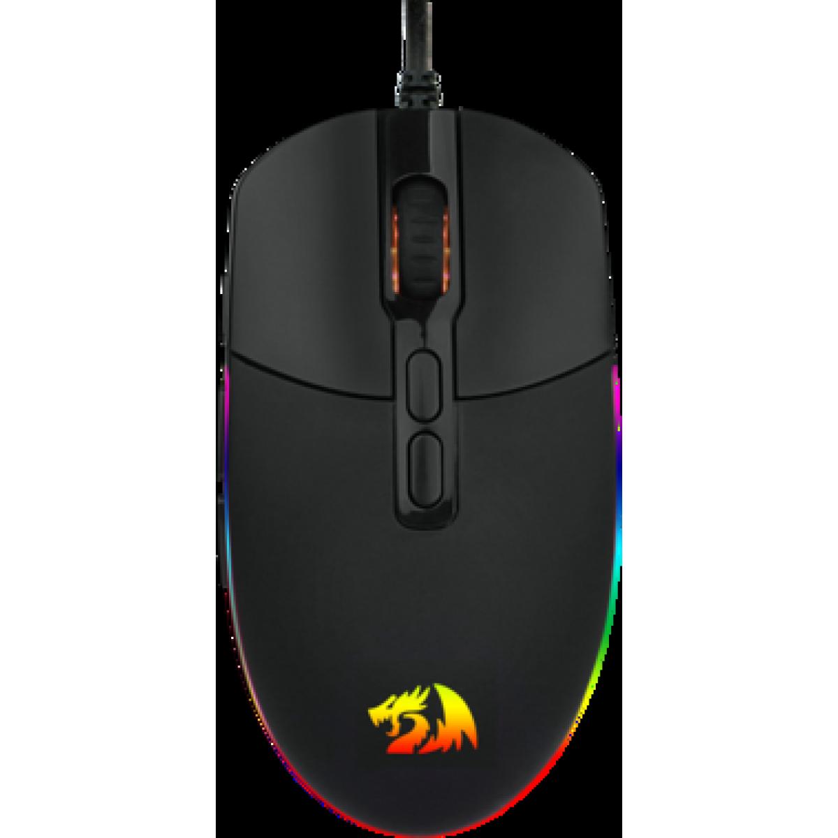 Mouse Gamer Redragon Invader M719 RGB, 10.000DPI, 8 Botões, Black