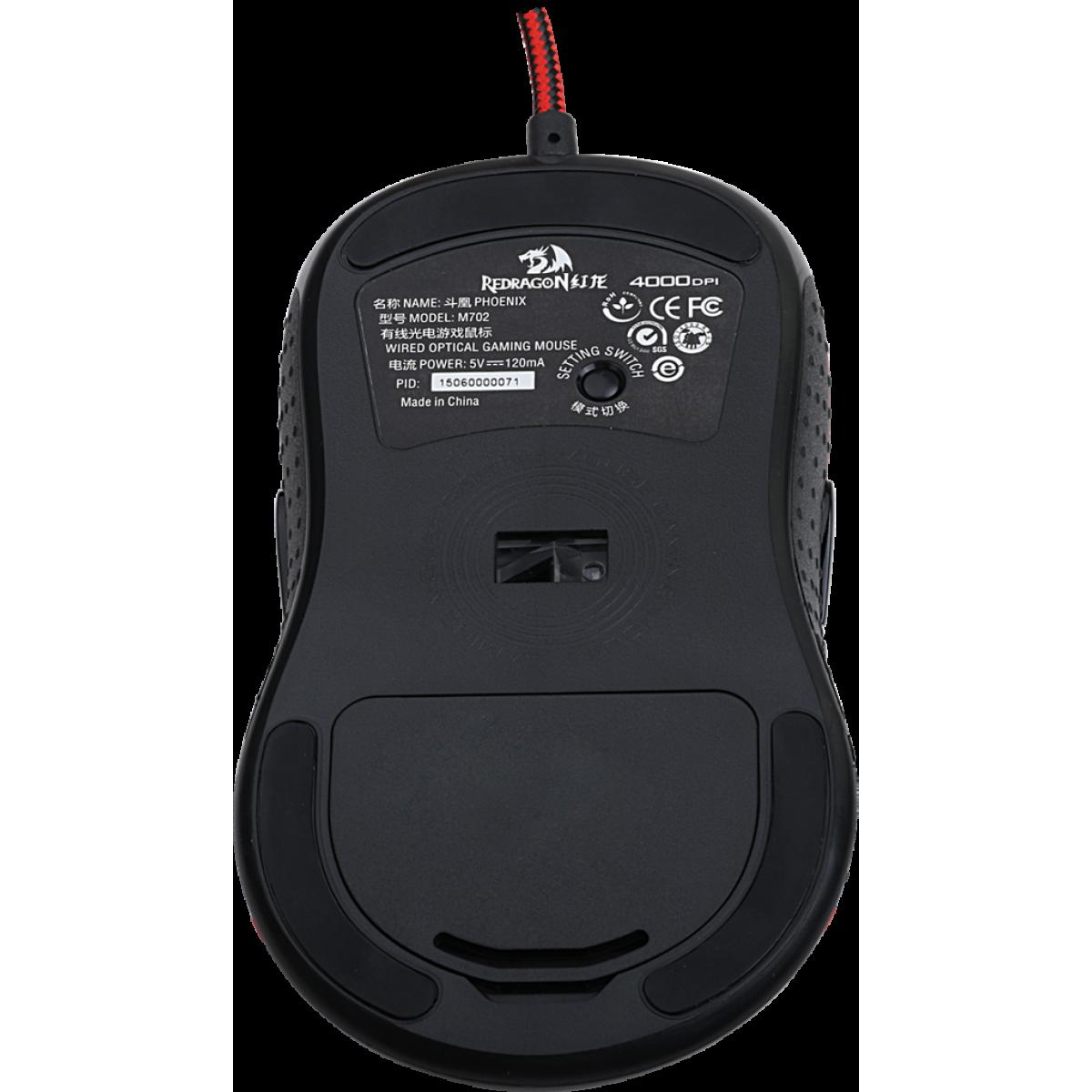 Mouse Gamer Redragon Phoenix M702, 4000 DPI, 9 Botões, Black