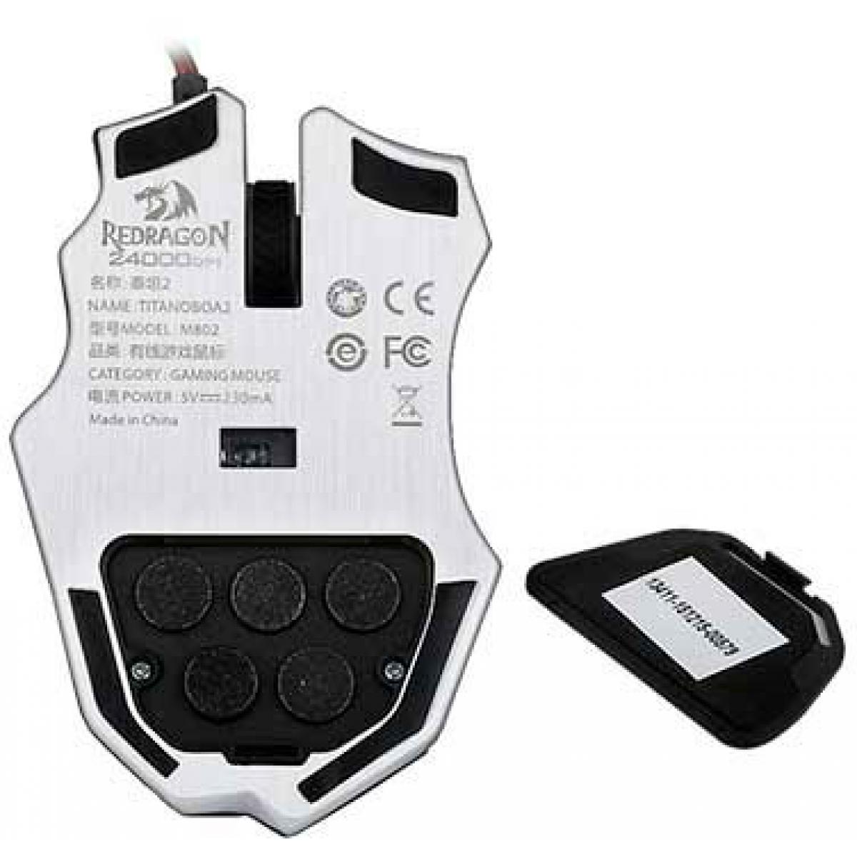 Mouse Gamer Redragon Titanoboa 2 M802 RGB, 24000 DPI, 10 Botões, Black