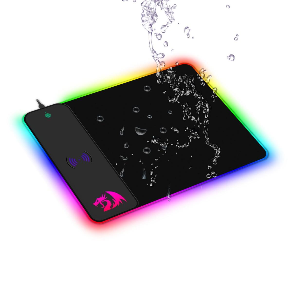 Mousepad Gamer Redragon Crater, QI Wireless, Médio, RGB, Black, P028