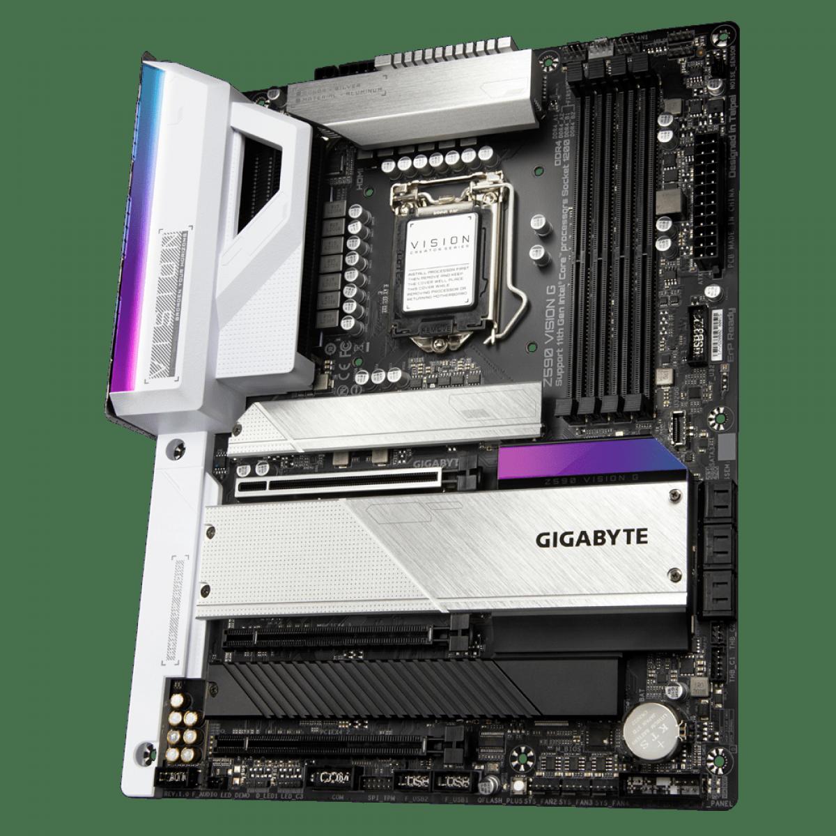 Paca Mãe GIGABYTE Z590 VISION G (rev. 1.0), Intel Z590 Express Chipset, Socket 1200, ATX, DDR4