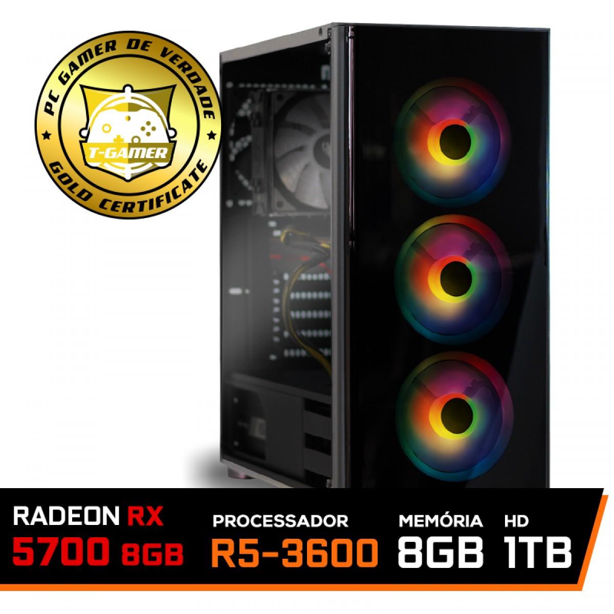 Pc Gamer Ideal 2019 Amd Ryzen 5 3600 / Radeon RX 5700 8GB / DDR4 8GB RGB 3000Mhz / HD 1TB / 600W