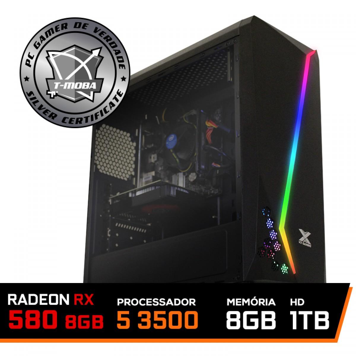 Pc Gamer T-Moba Epic LVL-4 AMD Ryzen 5 3500 / Radeon Rx 580 8GB / DDR4 8GB / HD 1TB
