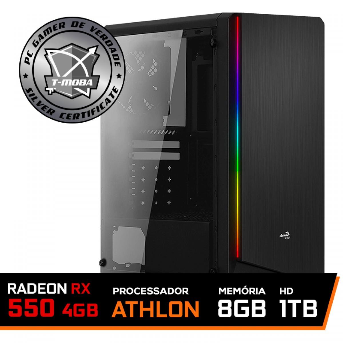 Pc Gamer T-moba Furious LVL-4 AMD Athlon 200GE / Radeon Rx 550 4GB / DDR4 8GB / HD 1TB
