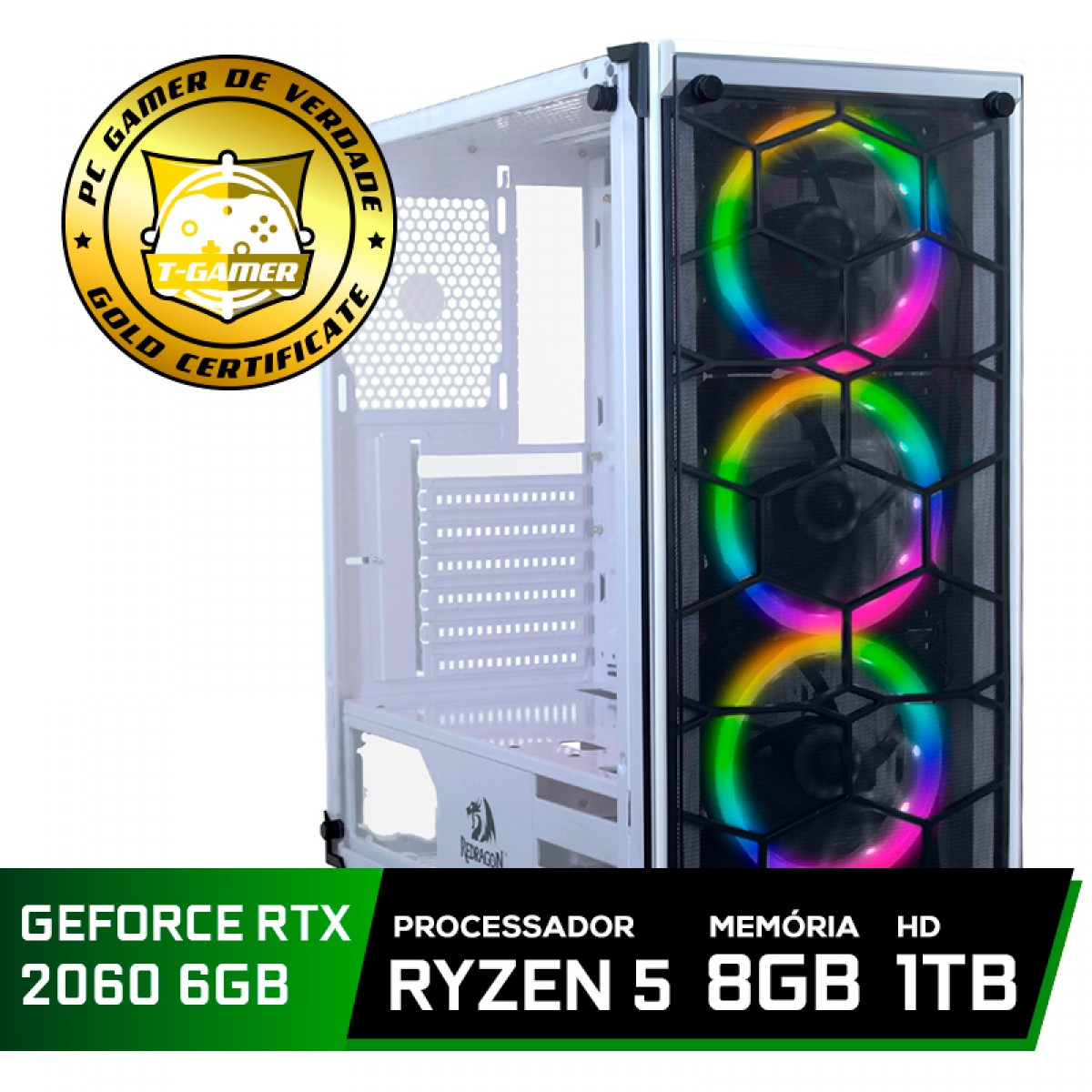 Pc Gamer Tera Edition AMD Ryzen 5 3500 / GeForce RTX 2060 6GB / DDR4 8GB / HD 1TB / 500W