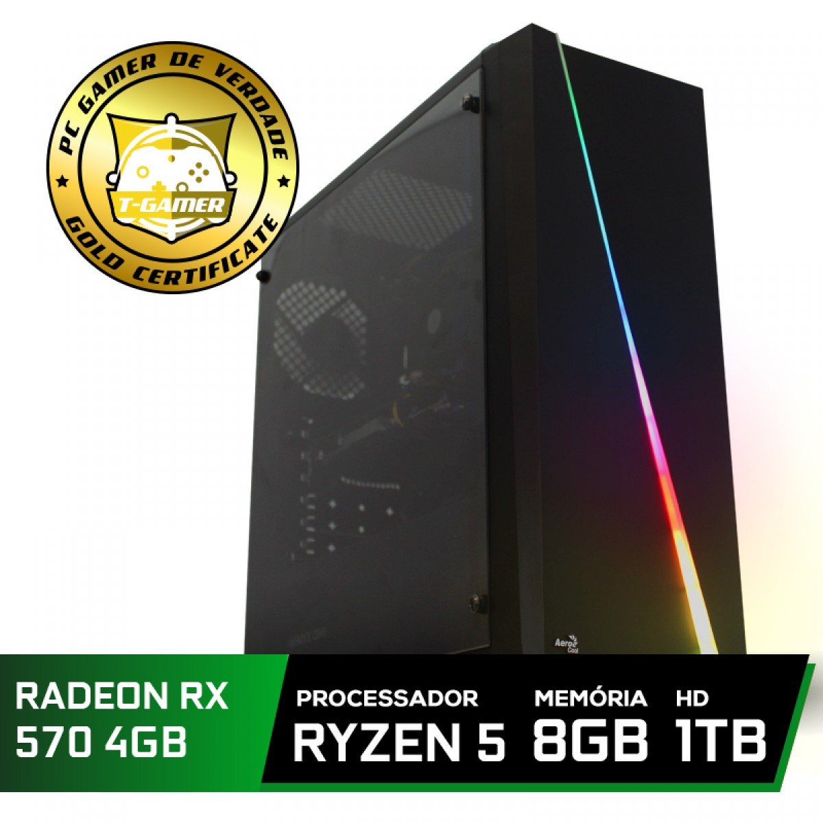 Pc Gamer Tera Edition AMD Ryzen 5 3500 / Radeon RX 570 4GB  / DDR4 8GB / HD 1TB / 500W