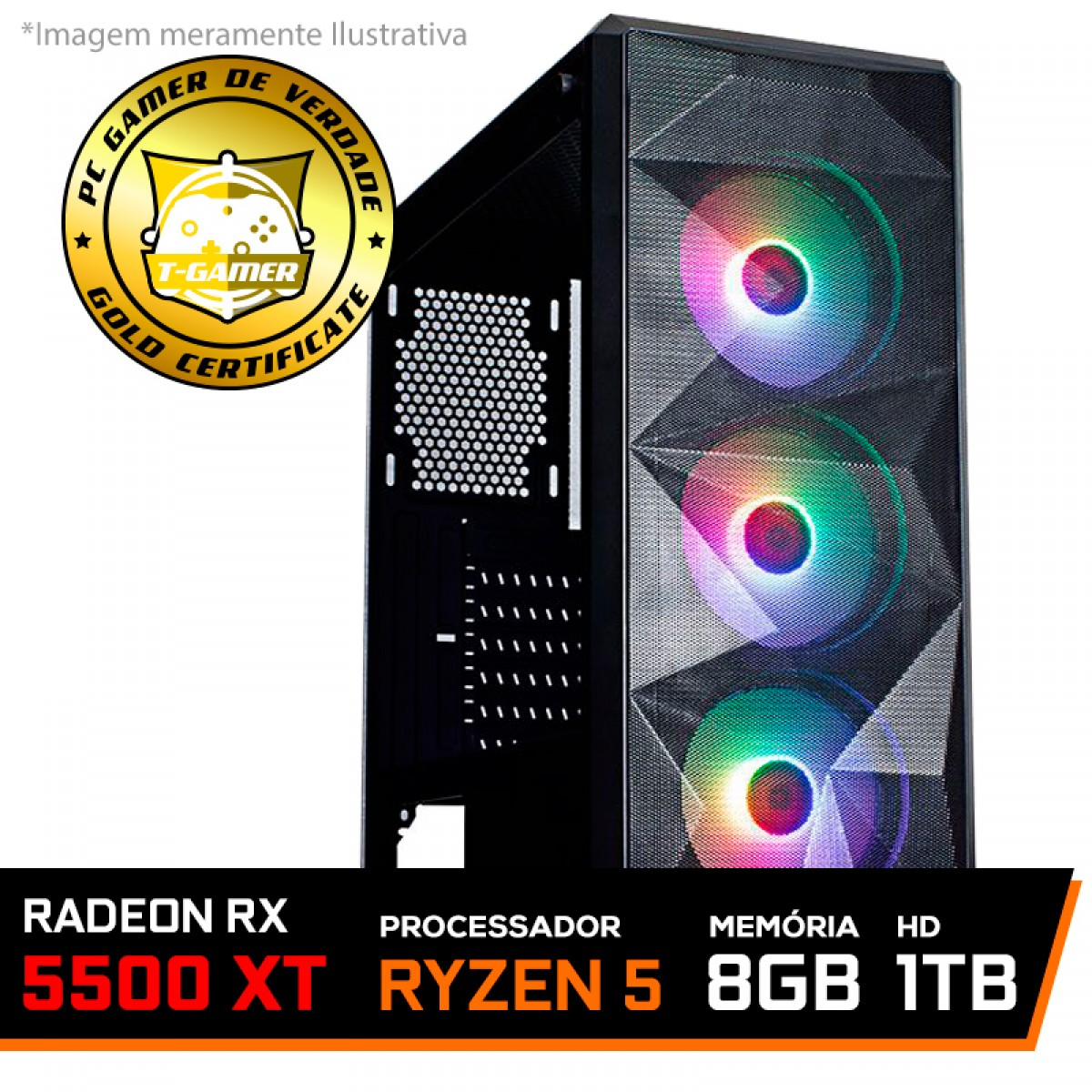 Pc Gamer Tera Edition AMD Ryzen 5 3600 / Radeon RX 5500 XT 8GB / DDR4 8GB / HD 1TB / 600W