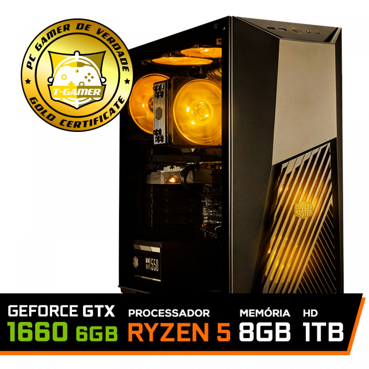 Pc Gamer TUF Edition Amd Ryzen 5 3600 / GeForce GTX 1660 6GB / DDR4 8GB / HD 1TB / 550W