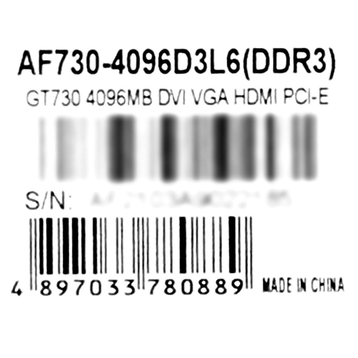 Placa de Vídeo AFox GeForce GT 730, 4GB, GDDR3, 128bit, AF730-4096D3L6