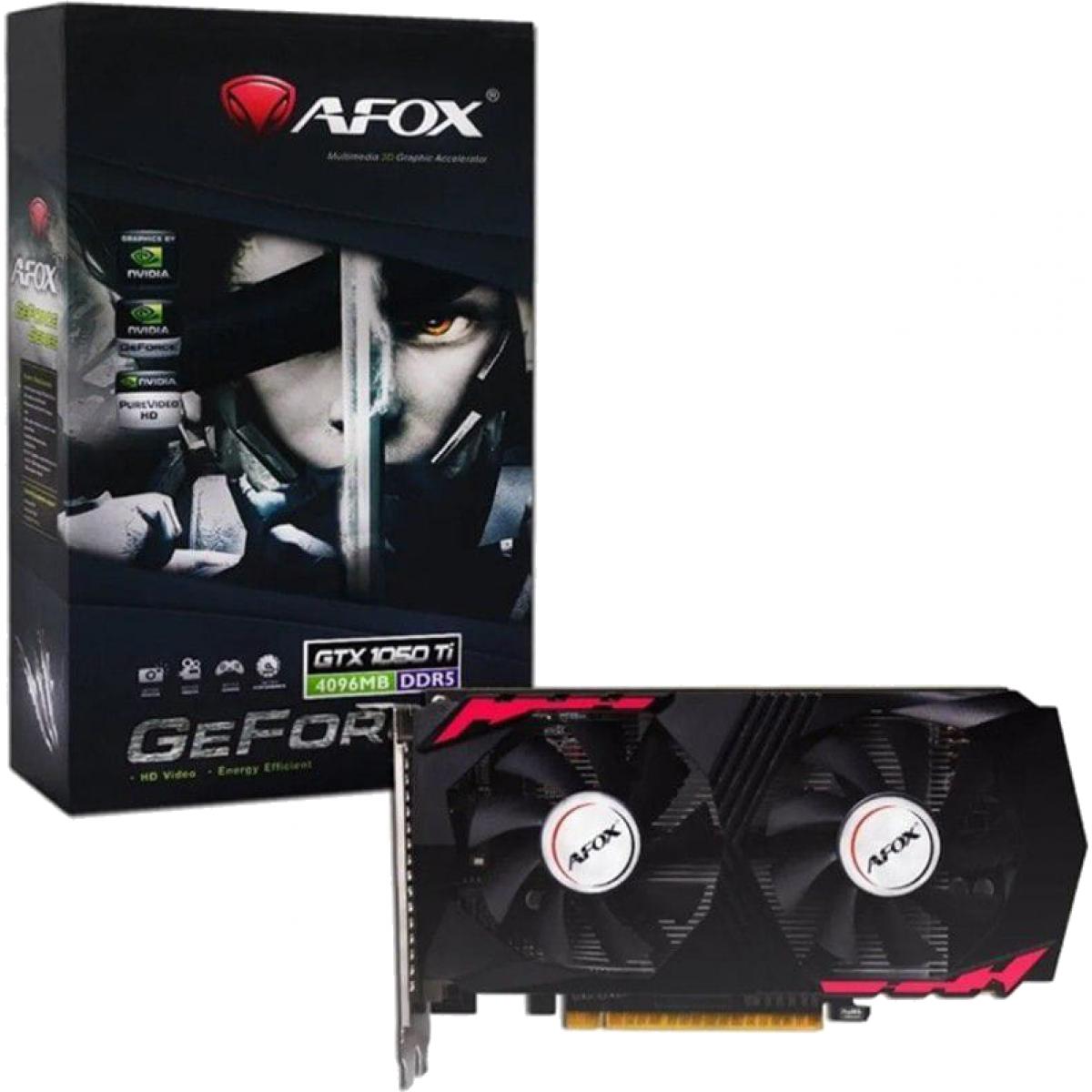 Placa de Vídeo Afox, GeForce, GTX 1050 Ti, 4GB GDDR5, 128Bit, AF1050TI-4096D5H2