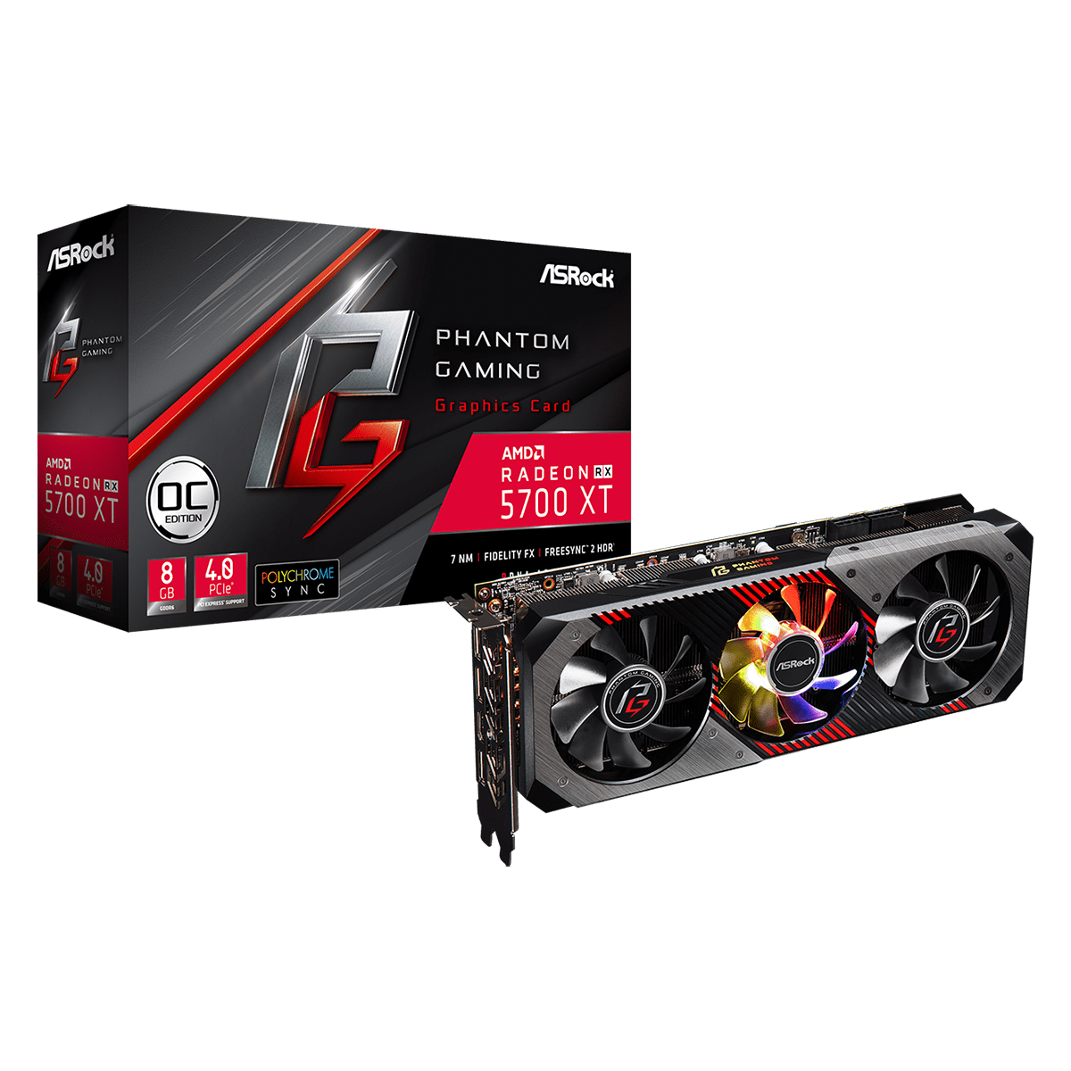 Placa de Vídeo Asrock Radeon Navi RX 5700XT Phantom Gaming D 8G OC, Triple Fan, 8GB GDDR6, 256Bit, 90-GA1JZZ-00UANF