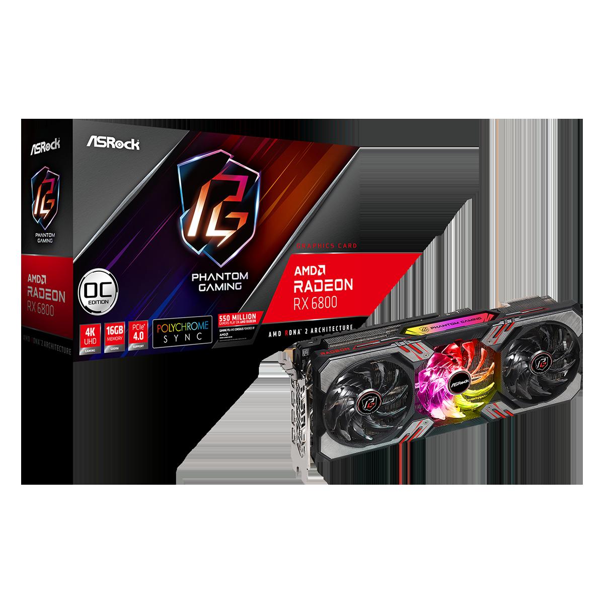Placa de Vídeo ASRock Radeon RX 6800 Phantom Gaming D OC, 16GB, GDDR6, FSR, Ray Tracing, 90-GA2AZZ-00UANF