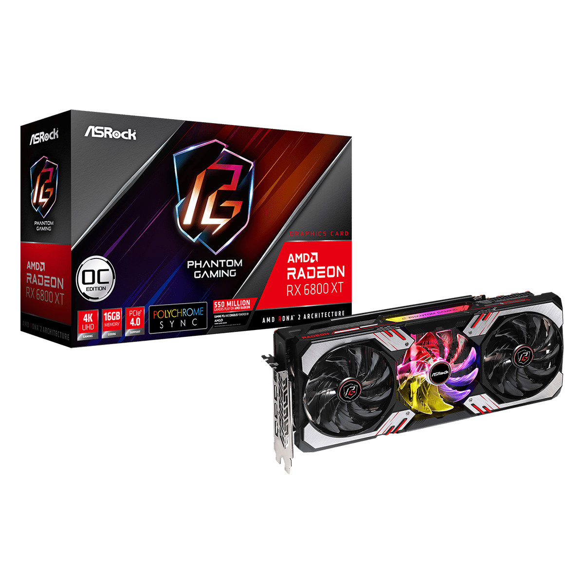 Placa de Vídeo ASRock Radeon RX 6800 XT Phantom Gaming D 16G OC, 16GB, GDDR6, 256bit, RX6800XT PGD 16GO
