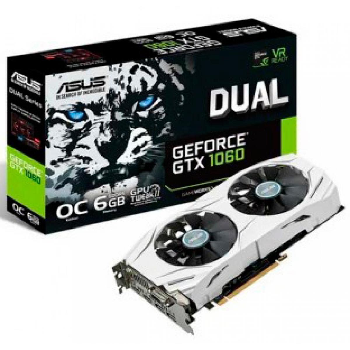 Placa de Vídeo Asus GeForce GTX 1060 DUAL OC, 6GB GDDR5, 192Bit, DUAL-GTX1060-O6G PCI-EXP