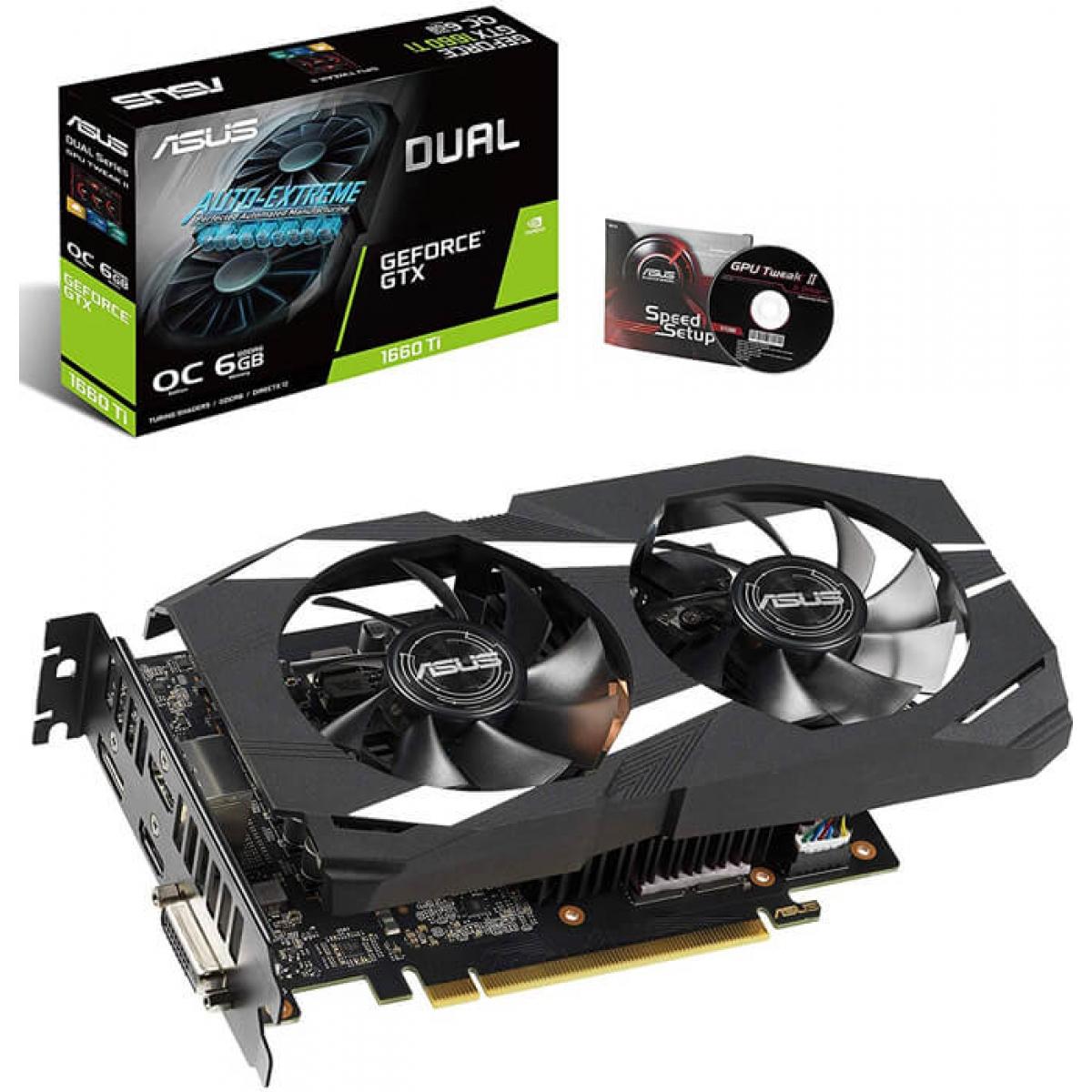 Placa de Vídeo Asus GeForce GTX 1660 Ti Dual OC, 6GB GDDR6, 192Bit, DUAL-GTX1660TI-O6G